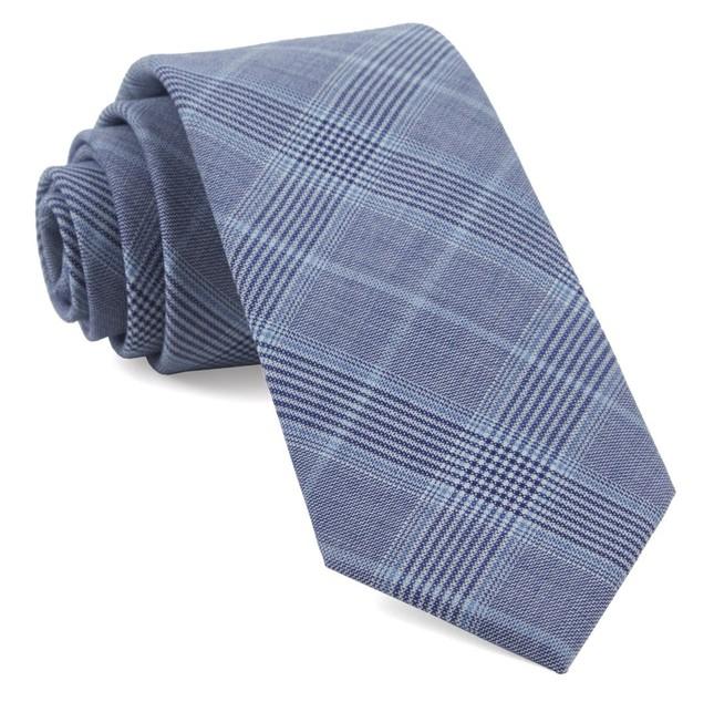 Blue Line Plaid Light Blue Tie