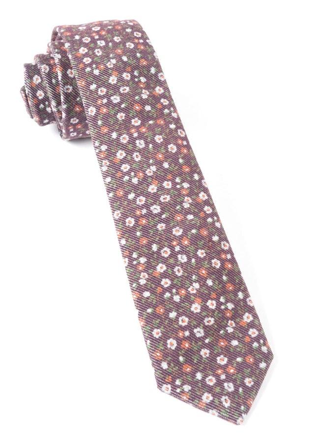 Corduroy Dahlias Brown Tie