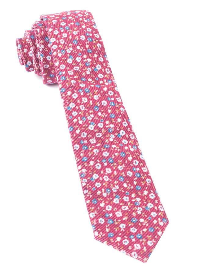 Corduroy Dahlias Red Tie