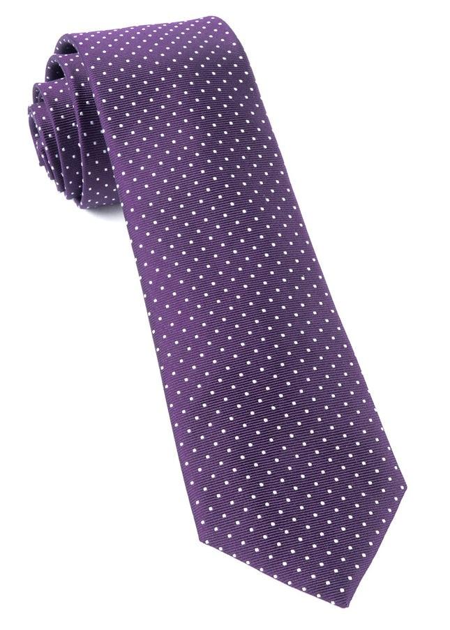 Mini Dots Eggplant Tie