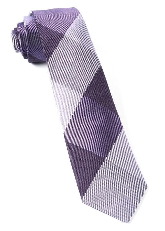 West Bison Plaid Purple Tie