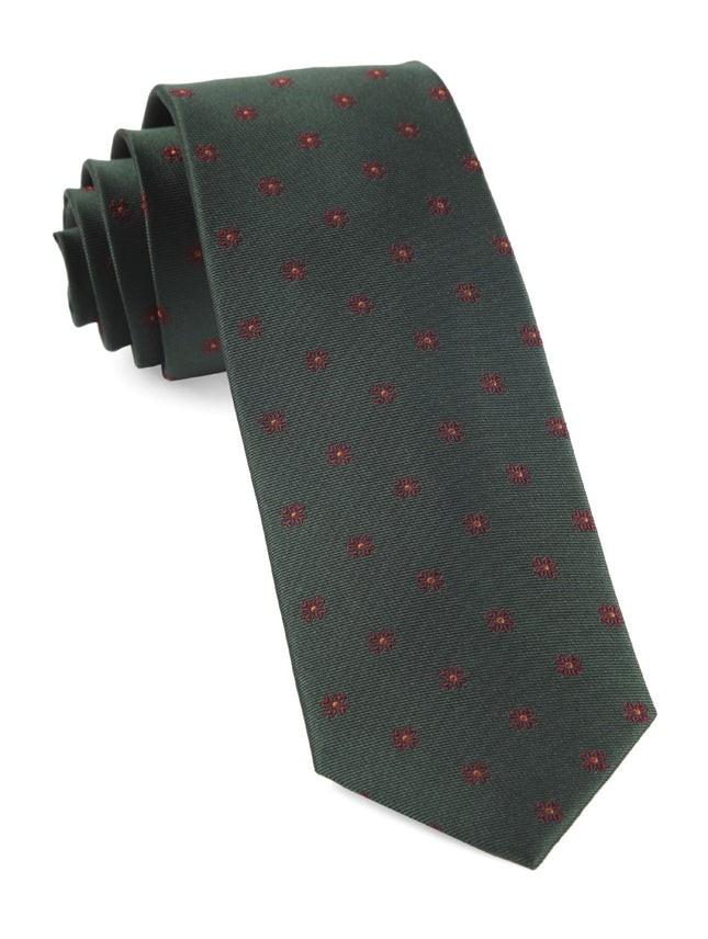 Floral Span Hunter Green Tie