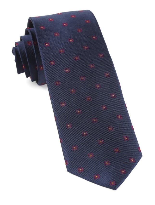 Floral Span Navy Tie