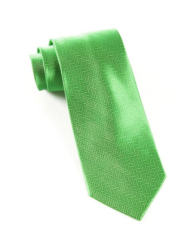 Herringbone Kelly Green Tie