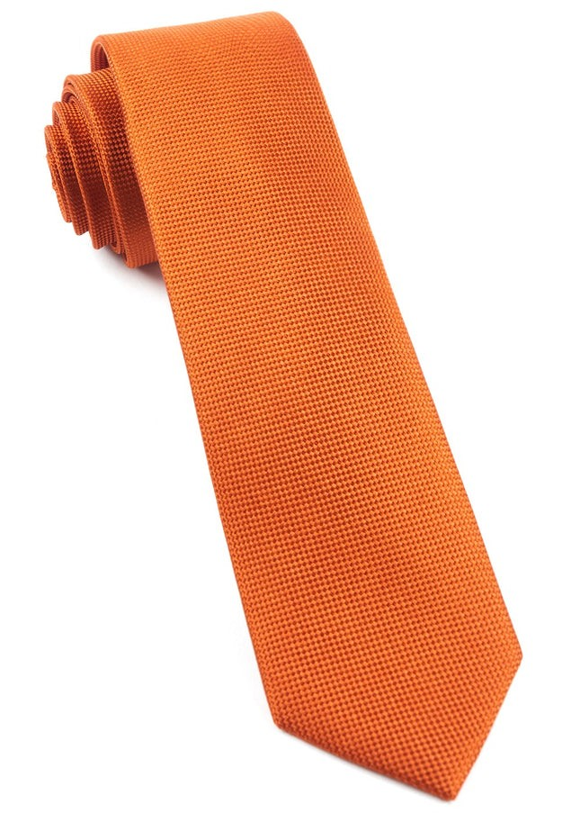 Solid Texture Orange Tie
