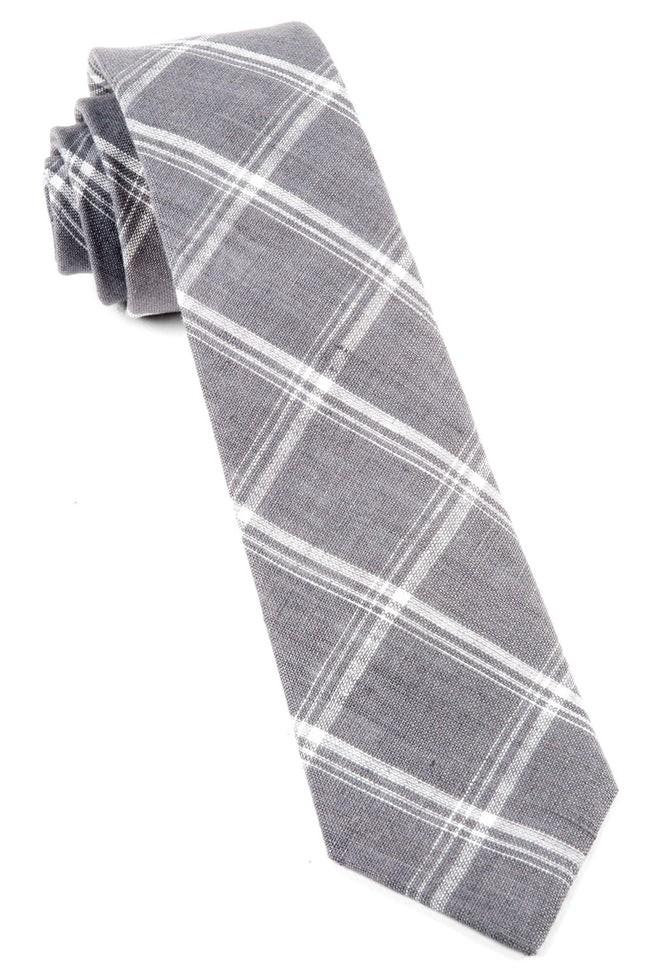 Jet Plaid Grey Tie