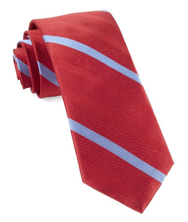 Goal Line Stripe Apple Red Tie
