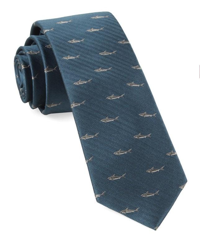 Shark Dive Green Teal Tie