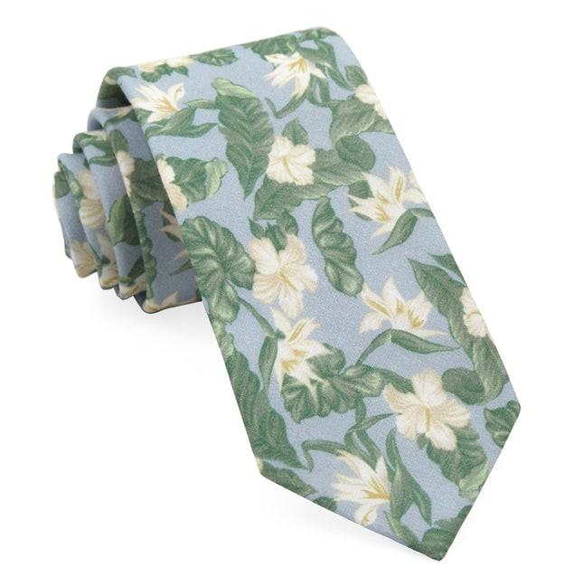 Tropical Floral Light Blue Tie