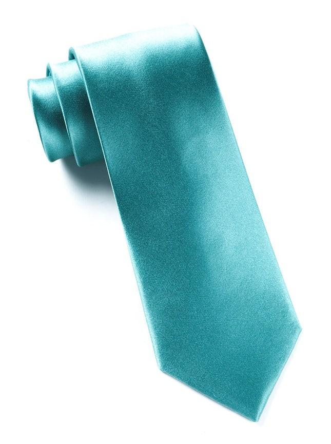 Solid Satin Aqua Tie
