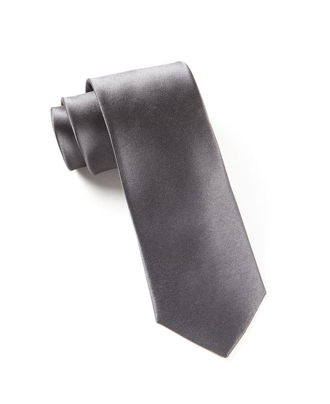 Solid Satin Charcoal Tie
