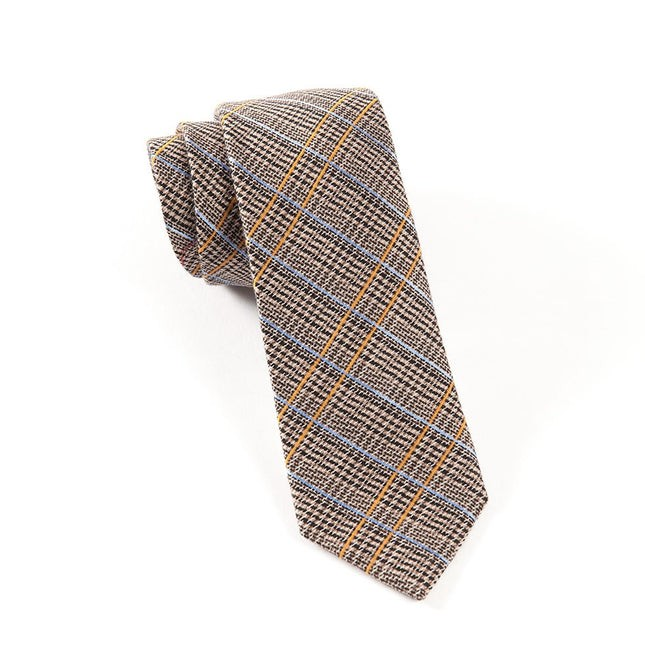 Fall Wool Plaid Taupe Tie