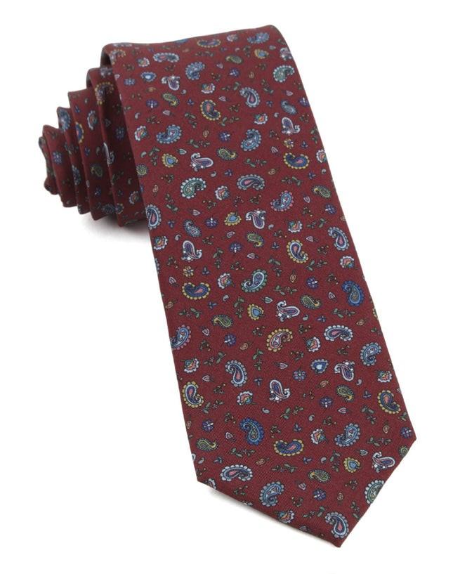 Barber Paisley Burgundy Tie