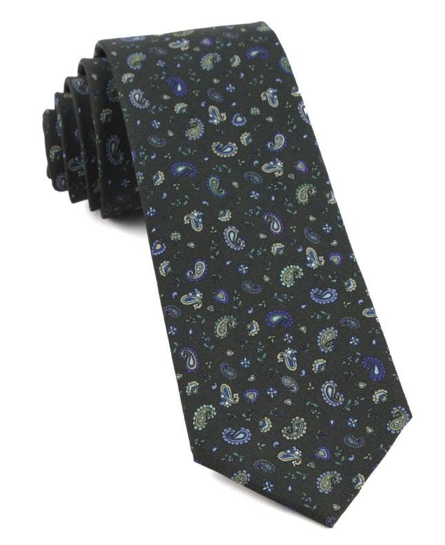Barber Paisley Dark Clover Green Tie