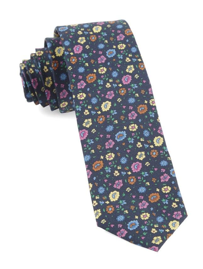 Morrissey Flowers Navy Tie