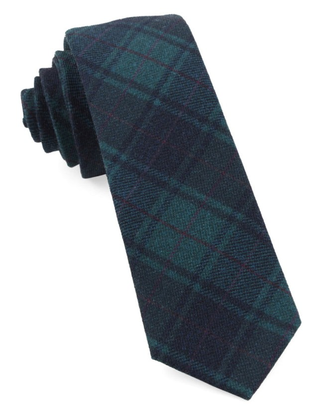 Merchants Row Plaid Green Teal Tie