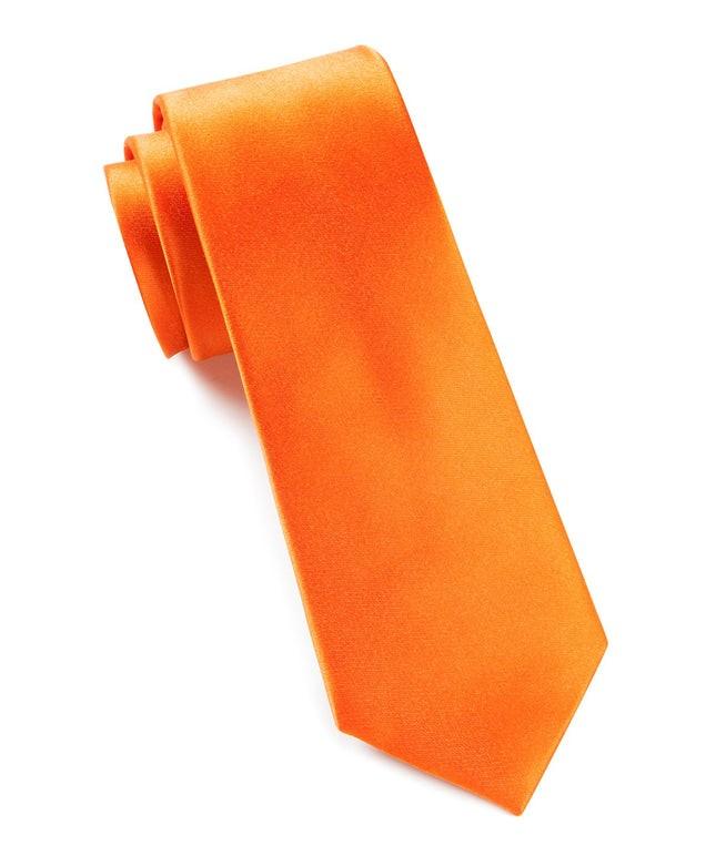Solid Satin Tangerine Tie