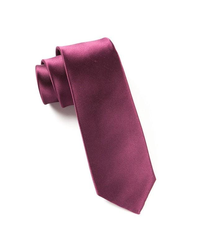 Solid Satin Wine Tie