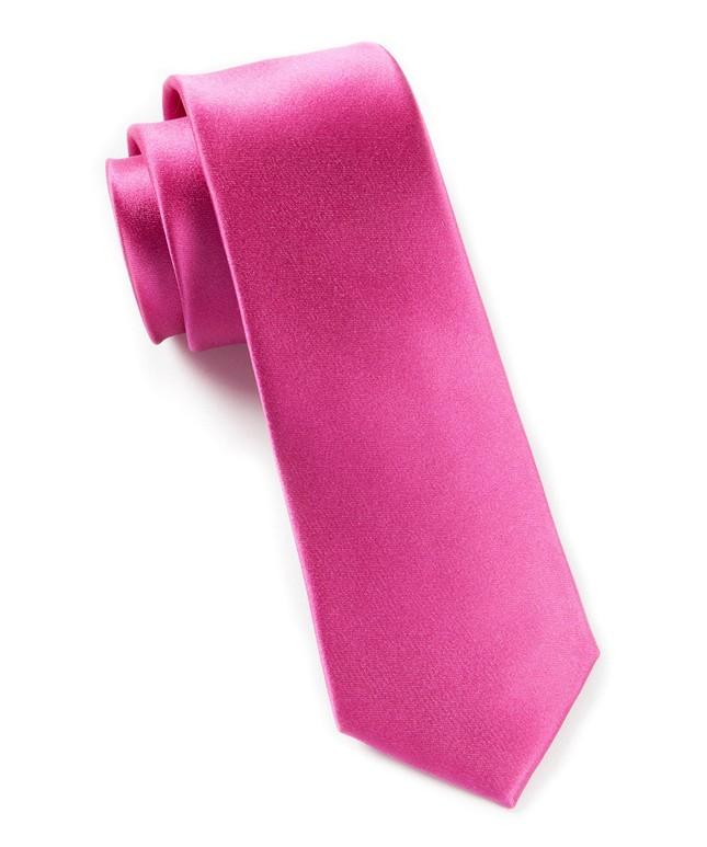 Solid Satin Fuchsia Tie