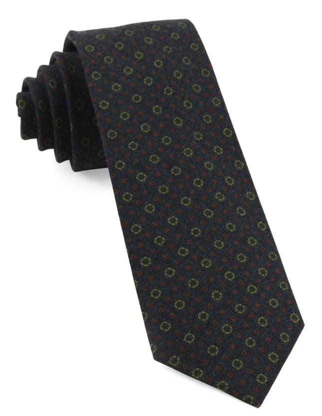 Webster Medallions Dark Olive Tie