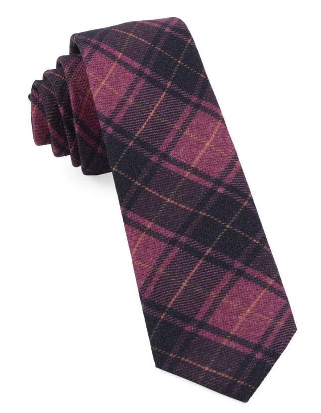 Merchants Row Plaid Magenta Tie
