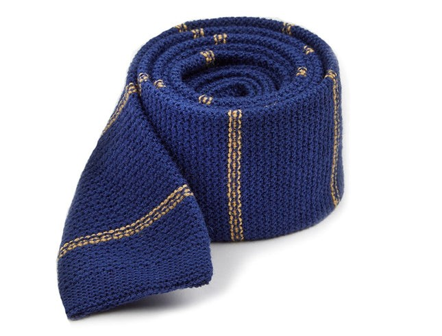 Knitted Hem Stripe Classic Blue Tie