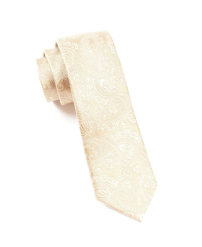 Twill Paisley Champagne Tie