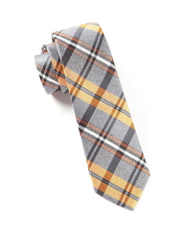 Winter Plaid Oranges Tie