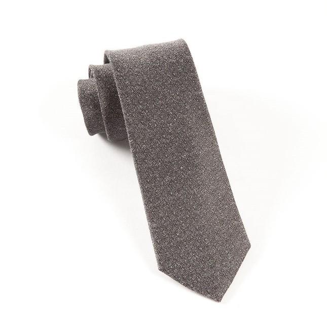 Linen Stitched Grey Tie