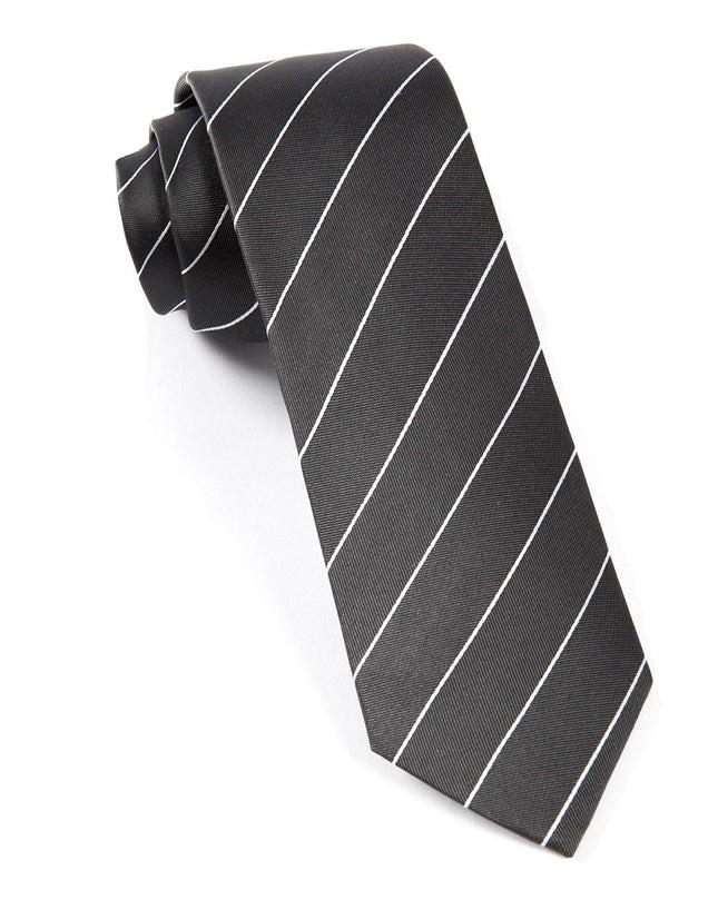 Pencil Pinstripe Bullet Grey Tie