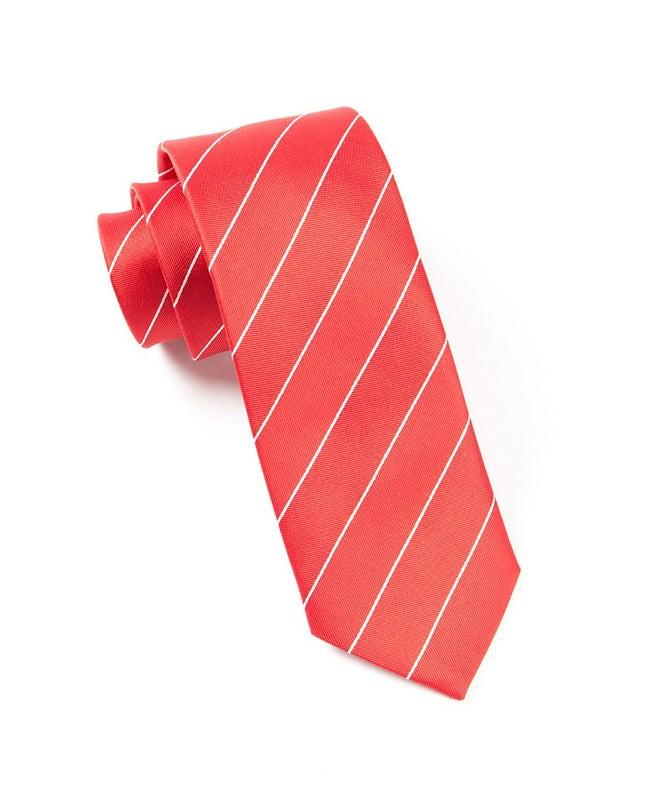 Pencil Pinstripe Apple Red Tie