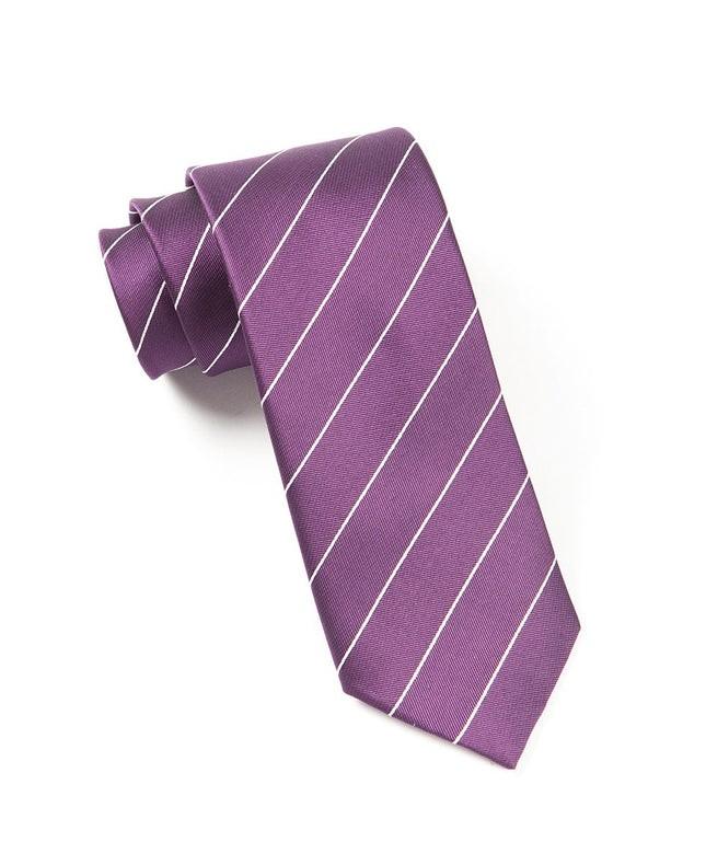 Pencil Pinstripe Deep Plum Tie