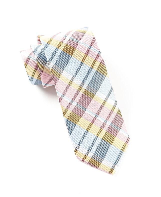 Linen Avenue Plaid Pink Tie