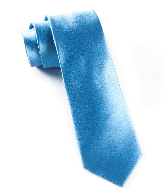 Solid Satin Mystic Blue Tie