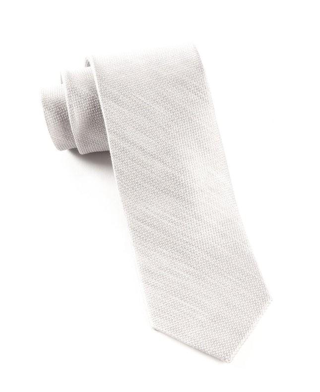 Solid Linen Silver Tie