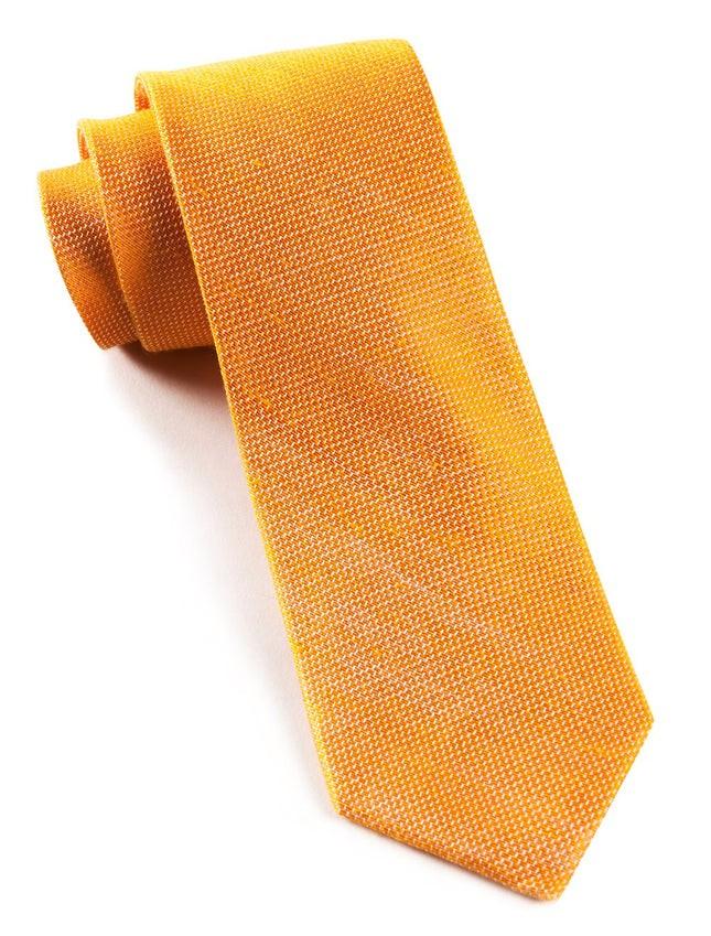Solid Linen Tangerine Tie
