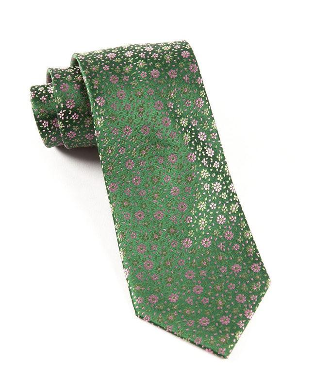 Milligan Flowers Hunter Green Tie