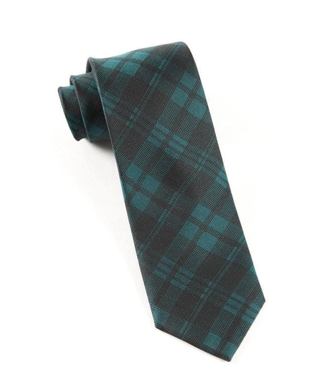 Mood Plaid Green Teal Tie