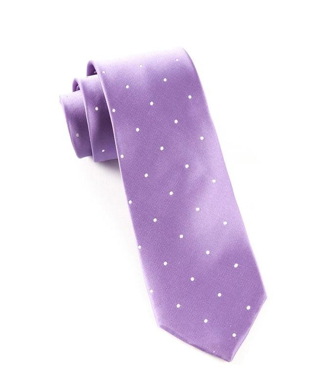 Satin Dot Lavender Tie