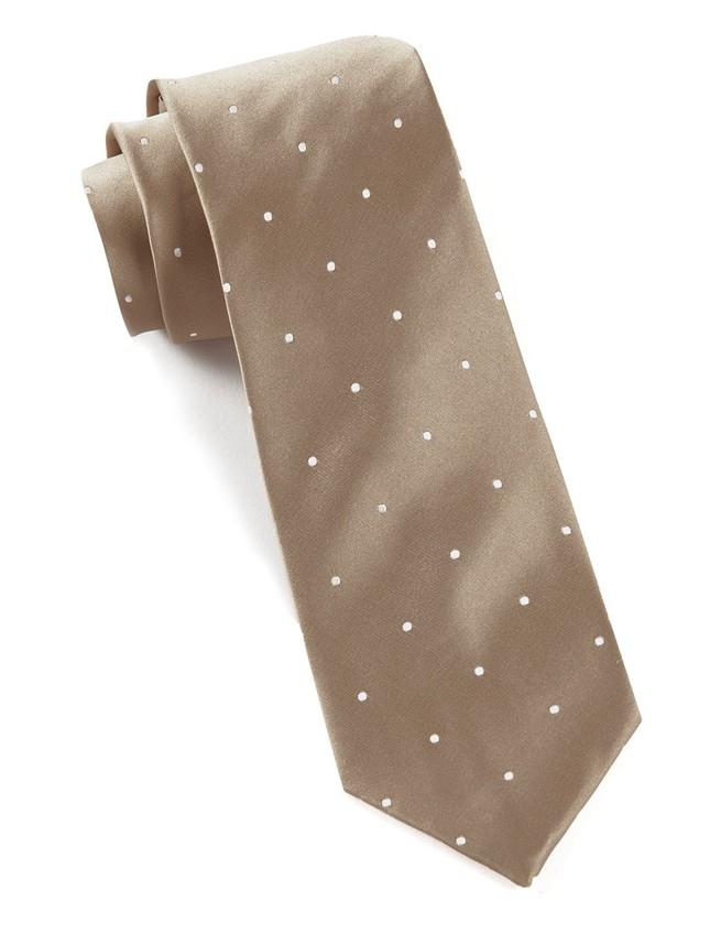 Satin Dot Champagne Tie