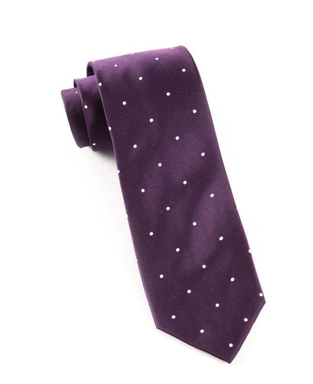 Satin Dot Eggplant Tie