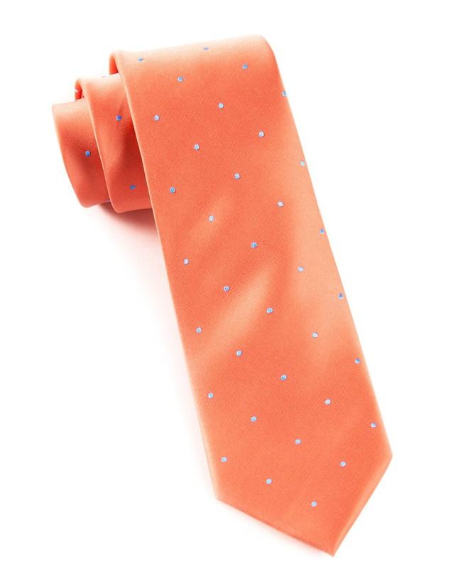 Satin Dot Coral Tie