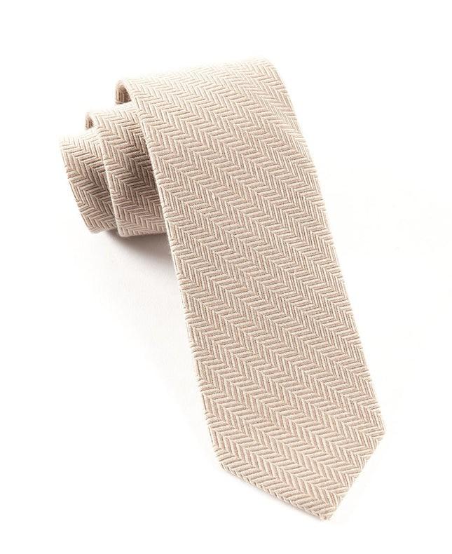 Wool Herringbone Khaki Tie