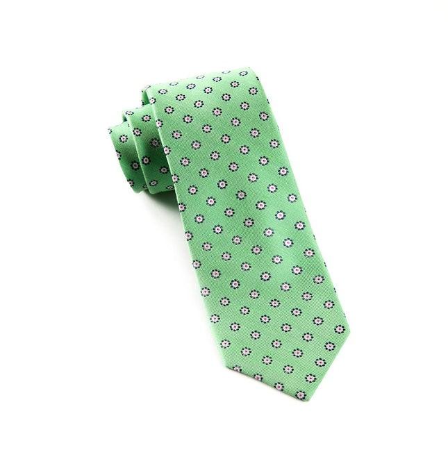 Half Moon Floral Apple Green Tie