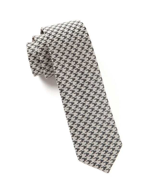 White Wash Houndstooth Light Grey Tie