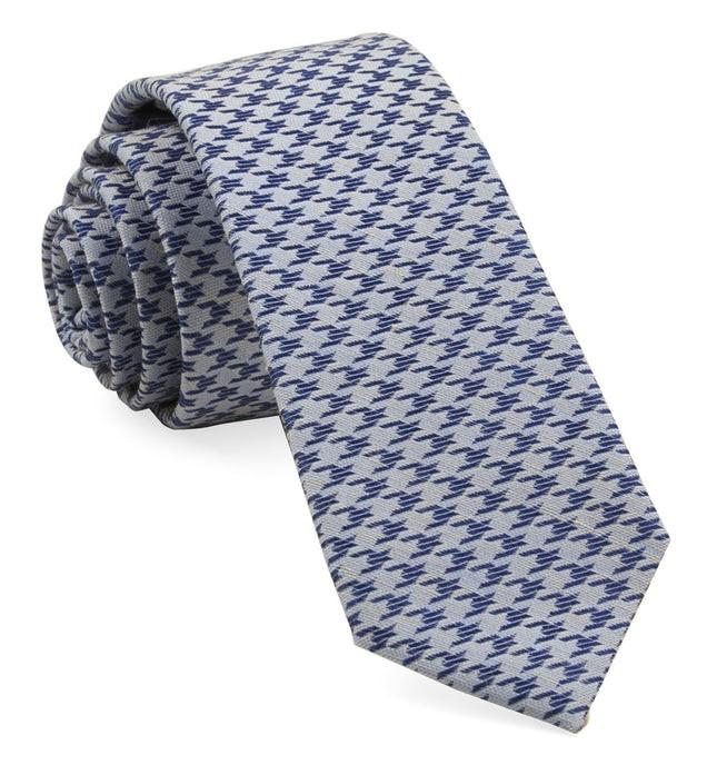 White Wash Houndstooth Soft Blue Tie