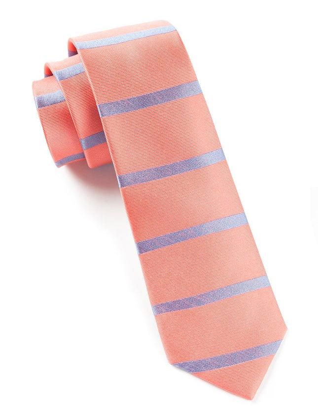 Road Horizontal Stripe Coral Tie