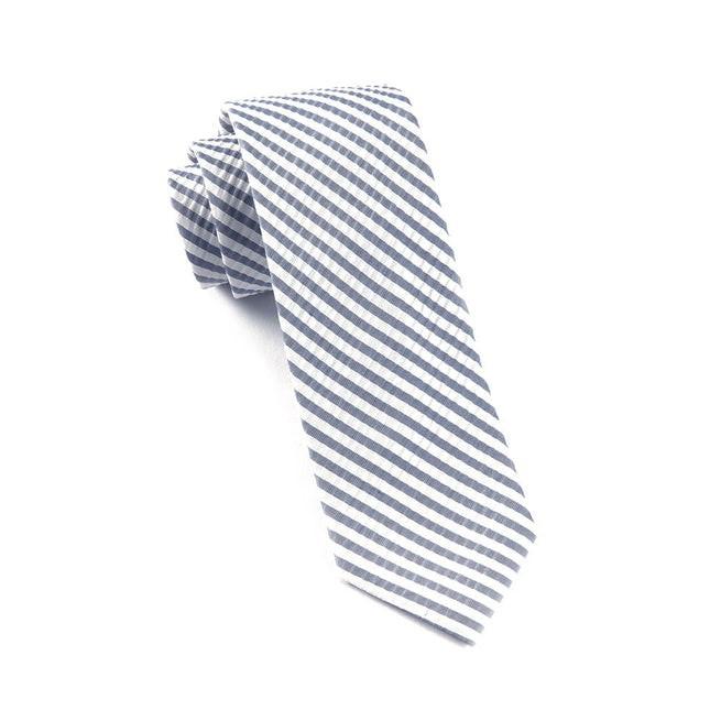 Silk Seersucker Stripe Midnight Navy Tie