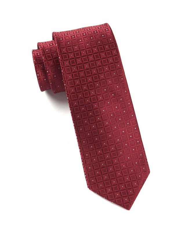Covert Checks Burgundy Tie
