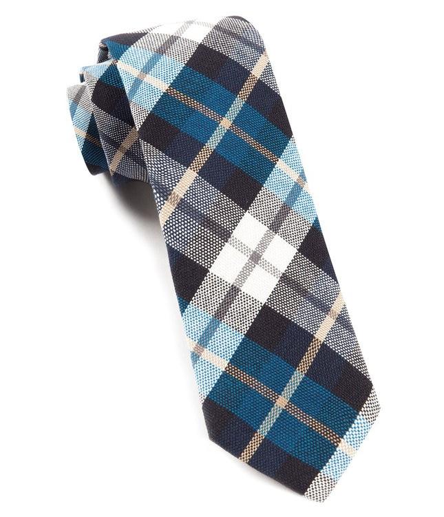 Crown Plaid Serene Blue Tie